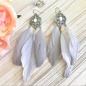 "EXPRESS 5"" Feather Rhinestone Filigree Earrings"